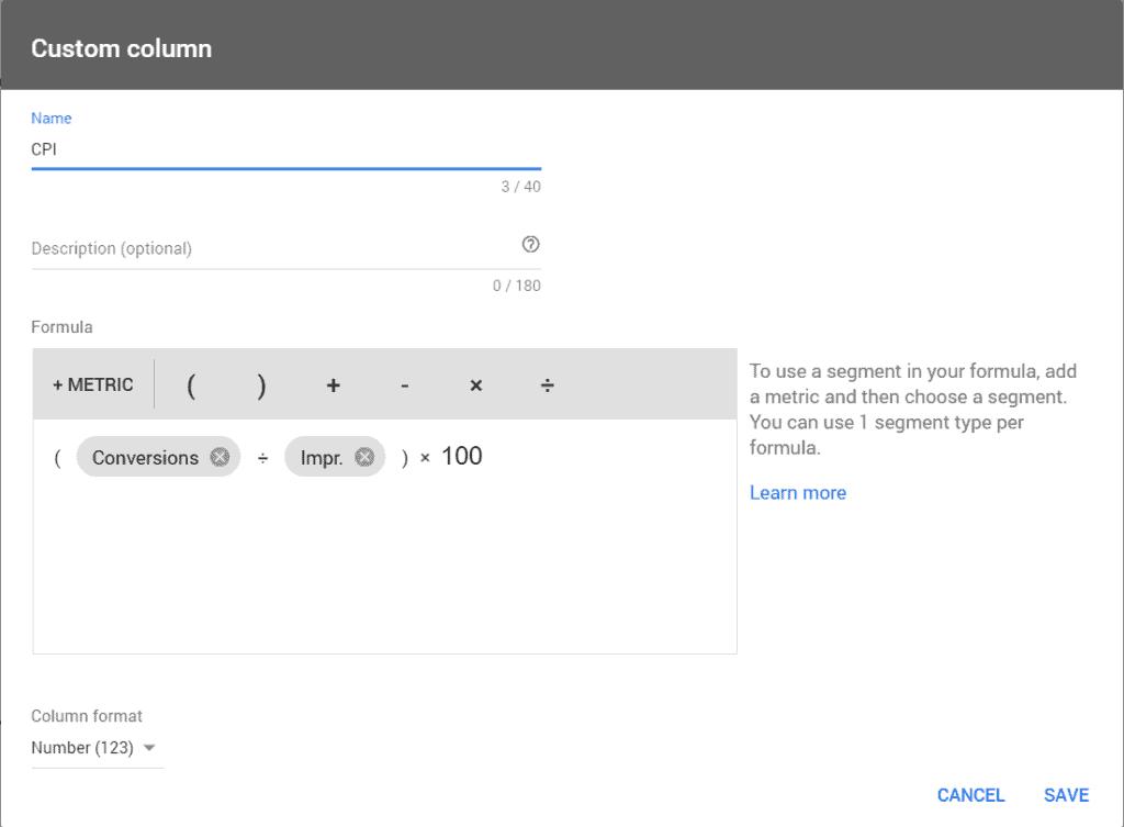 Creating a custom CPI column