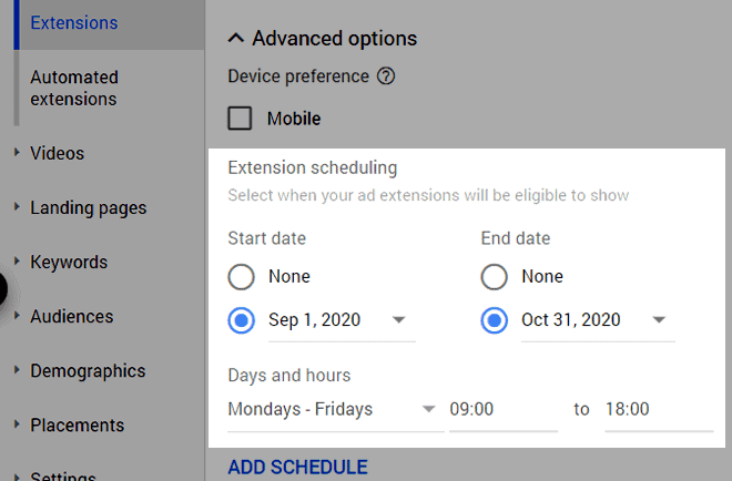 callout extension scheduling options