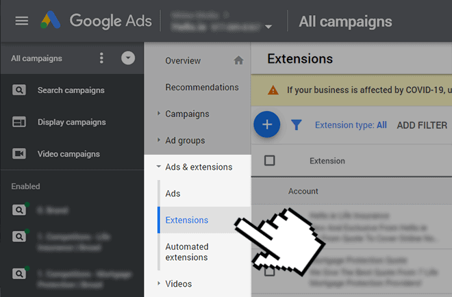 create a callout extension in Google Ads