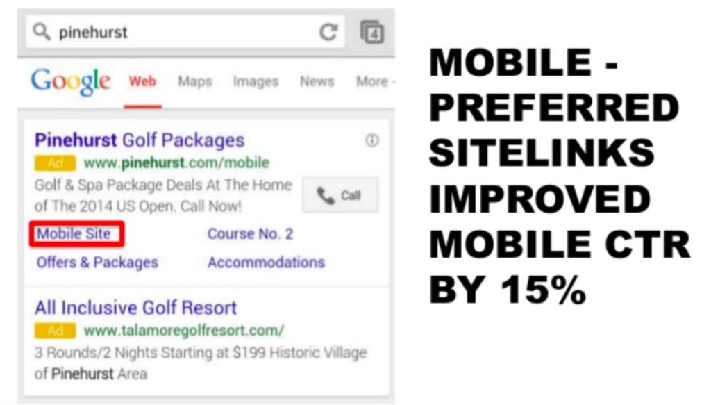 mobile preferred sitelinks improve CTR