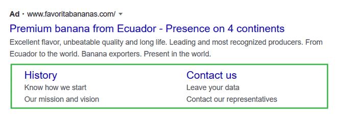 Google Ads sitelinks example