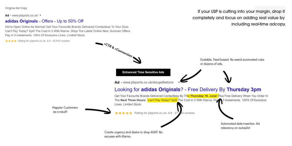 improving google ads with urgency, personalisation and pre-qualifiers