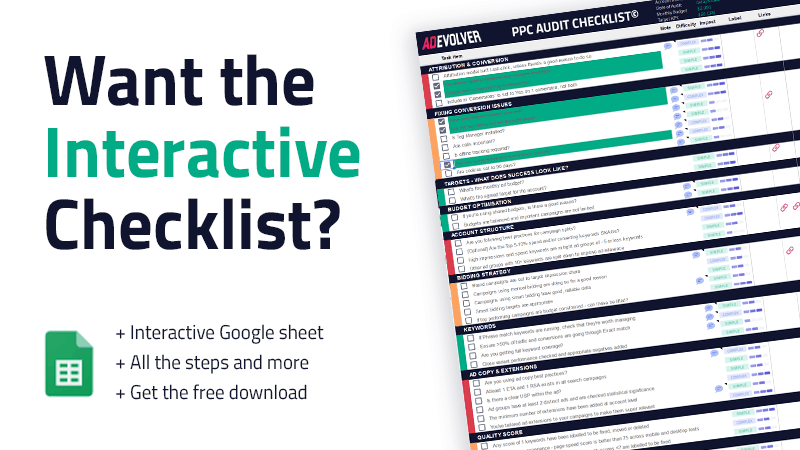 interactive PPC Audit checklist