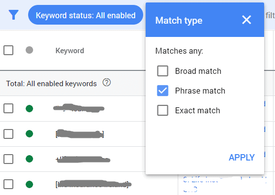 keyword match type filter